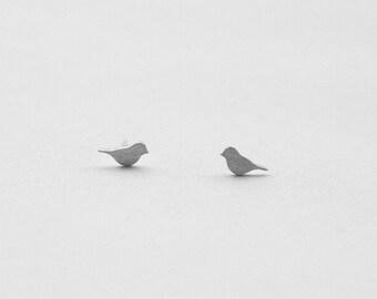 Bird Silvery Stud Earring Post Finding (EX048B)