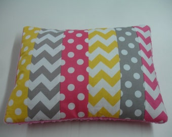 Hot Pink Yellow and Gray Mixed Geometrics Strip-Style Patchwork Pillow Sham READY TO SHIP On Sale