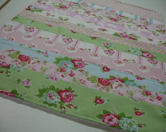 Shabby Roses Minky Security Blanket 20 X 26 READY TO SHIP On Sale