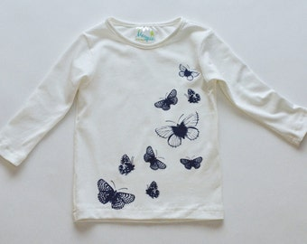 SAMPLE SALE -  Lily t-shirt in Ivory Butterflies - Size 16... Versatile!