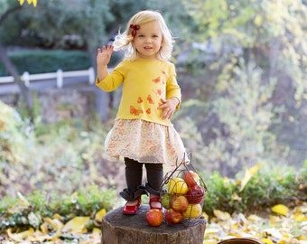 SAMPLE SALE -  Robin Dress in Meadowsweet - Size 18 months ... Jersey body with charming screenprint and dotty overlay skirt