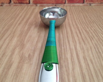 Coffee Scoop - Green and Aqua Wire - Coffee Pour Over - Hostess Gift - Housewarming Gifts - Coffee Spoon - Coffee Measuring Scoop - Scoop