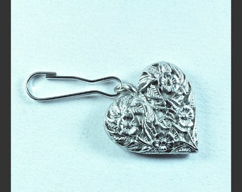 2 Silver Heart lanyard zipper charms | zipper charms | key chain charms
