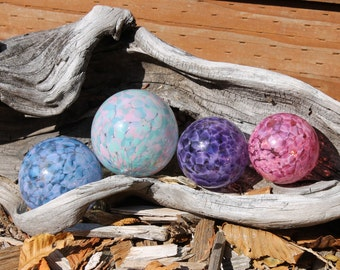 Set of 4 Colorful Hand Blown Glass Floats, Garden Balls, Gazing Orbs In Shades of Pink, Purple, and Blue
