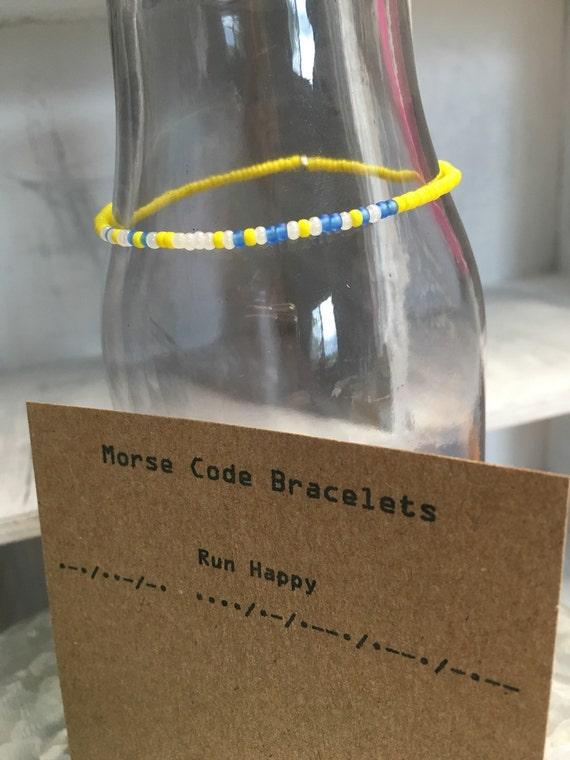 "Morse Code ""Run Happy"" stretchy bracelet"