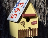 Cottage Birdhouse - Rustic Birdhouse - Primitive birdhouse - License plates birdhouse - Recycled Birdhouse