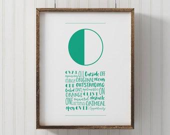 Name letter art, Modern Letter O art, ABC wall art, letter nursery art, printable o poster, kids room wall art, unique alphabet art