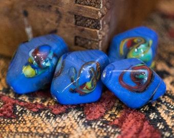 Vintage Chunky Blue Multi Color Bicone Focal Beads bds770