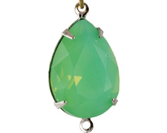 Green Opal Faceted Glass Teardrop Stones 2 Loop Silver Setting 18x13mm (2) par006AC2