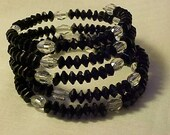 BLACK & Clear GLASS Beaded WRAP Bracelet w/Matching Earrings for Pierced Ears~Stylish Evening Wear w/WoW Factor~Fashionable and Lovely