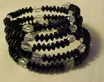 BLACK & Clear GLASS Beaded WRAP Bracelet w/Matching Earrings for Pierced Ears~Stylish Evening Wear w/WoW Factor~Fashionable and Lovely