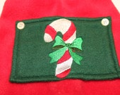 Extra small Christmas fleece longies feature machine embroidered candy cane on a trapdoor
