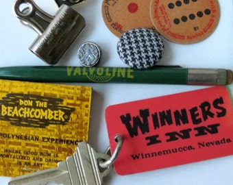 SALE - Vintage Junk Drawer Lot - Collectibles - Inspiration Kit - Hipster Belt Buckle - Trinkets - Game Pieces - Map - Tie Pin - Keys