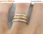 40% Off Sale Gold Twig and Silver Bands Ring Set|  Stacking Rings Set