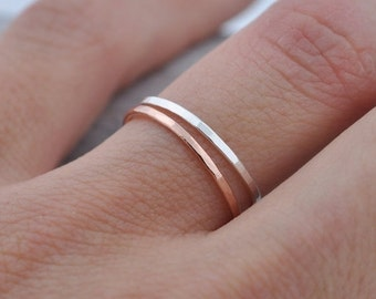 Valentines Day Sale Single Thin 14k Rose Gold Band | Stacking Ring | Mid Knuckle Ring | Mid Finger Ring