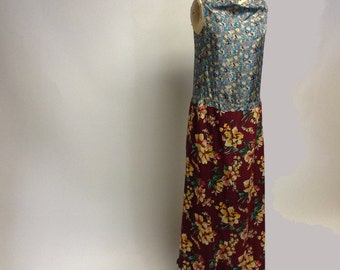 Handmade Mixed Floral Silk Maxi dress YOUR SIZE