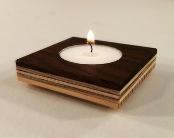 Modern Wood - Tealight Holder Made From Re-Purposed Wood, Style Retro, Mid Century