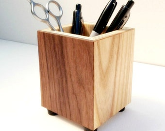 Wooden Pencil Holder, Pen Cup, Wood Desk Accessory - Pen Holder,  Pencil Cup Made From Recycled Wood - Gift For Coworker / Teacher