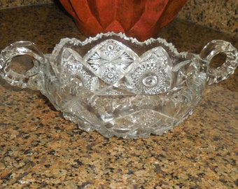 20th C PressedPatterned Glass Two Handled Bowl
