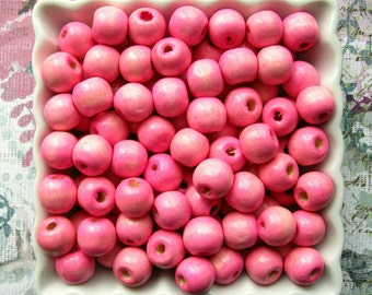 12mm Bright Pink Wooden Beads - 100 - 12mm Glossy Hot Bubblegum Pink Wood Beads, Lead Free (WBD0094)