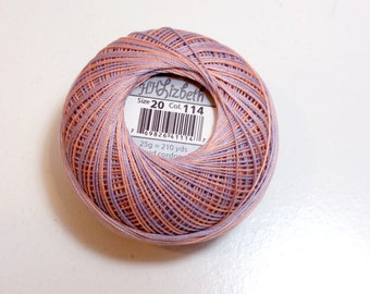 Tatting Thread, Lizbeth Size 20 Cotton Crochet Thread, Sea Shells, Color number 114, Peach and Lavender Variegated Thread