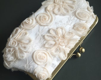 Cream Chiffon Lace Clutch