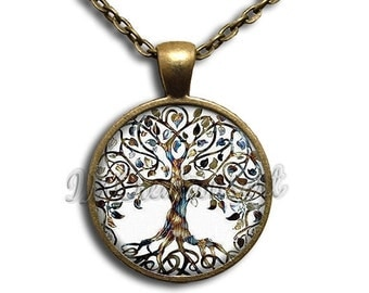 SALE - Tree of Life Dome Pendant or with Chain Link Necklace NT137