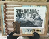 See Yall Soon, Cowboy, Cowgirl, Horse, Pony, Boots, Handmade Card, Greeting Card, Vintage Photo, Altered Art, Collage, Vintage Style, OOAK