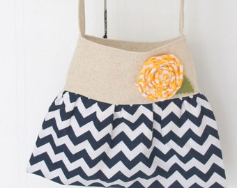 navy and white chevron rustic little girls purse