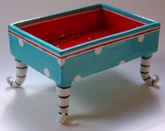 Whimsical pottery Serving Bowl, turquoise blue & red polka-dots curly legs, ceramic dish w/ striped beetlejuice feet