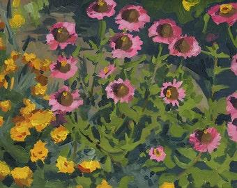 Echinacea Flower Bed: Original Floral Oil Painting