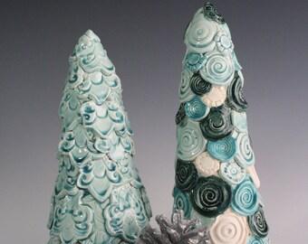 SALE. Blue Christmas tree decoration. Gift set. Modern, unique mantle decor set. Handmade ceramic