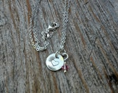 Sweetheart Sterling Silver and Pink Crystal Necklace