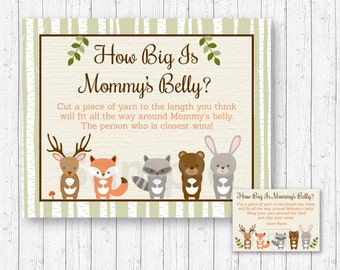 Woodland Forest Animal How Big Is Mommy's Belly Game / Woodland Baby Shower / Baby Shower Game / Belly Guessing Game / INSTANT DOWNLOAD