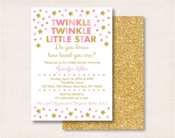 twinkle twinkle little star baby shower invitation pink gold
