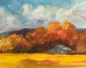 """Painting ORIGINAL 3x5"""" French Country Golden Autumn Country Barn Painting Blue Horse Barn Fall Forest Leaves Hikers Paradise Art Home Decor"""