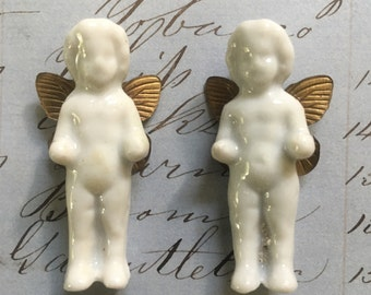 Winged Vintage Frozen Charlotte Doll - Tiny Porcelain Doll - Germany - lot of 2