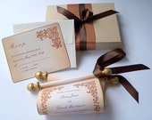 Fairytale wedding invitation suite, castle wedding invitation, boxed paper scroll with reply card, copper gold & brown, medieval wedding, 30