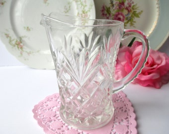 Vintage Anchor Hocking Prescut Pineapple Large Creamer/Small Pitcher