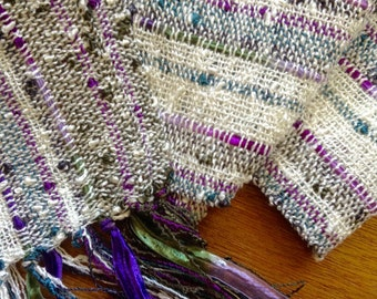 handwoven lightweight scarf in creamy white olive lavender slate blue
