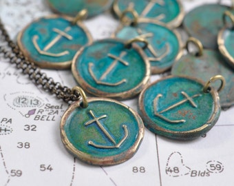 anchor wax seal necklace pendant …  hope and stability - bronze verdigris patina nautical wax seal jewelry