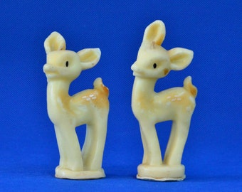 Set of Two Vintage Deer Fawn Christmas Tavern Candles by Socony-Vacuum Oil Inc.