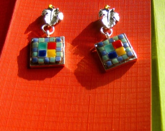 Jewelry Mosaic Earrings 5/8 inch squares dangling from silver color Leaf w a tiny Gold Crystal.  One of a Kind. Quilt Pattern Tiny Tiles.