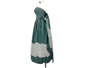 Vintage 50s Dress - 50s Strapless Dress - 50s Full Skirt Dress - 50s Party Dress - Bandeau Top - Trompe L'Oeil - Green White Dress - Lace