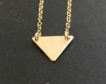 14K Gold filled triangle spike pyramid necklace chain pendant clearance sample sale only one