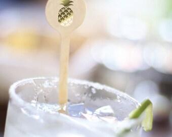 Cocktail Stirrer - Gold Foil - Pineapple -  Drink Stirrers -  Stir Sticks- Cocktail Party - Tropical - Fruit -  Set of 10