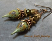 Lampwork Beaded Earrings-Organic Artisan Earrings-Artisan Lampwork Headpin Earrings-Gold Filled Earrings-Boho Earrings-SRAJD-Artisan Beads