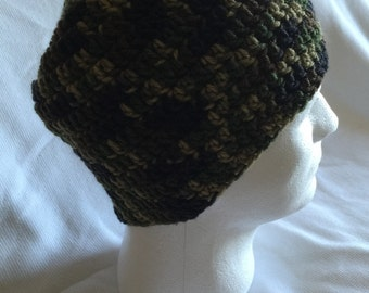 Camo hand made crocheted hat