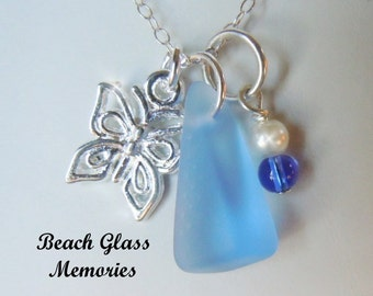Butterfly Necklace  Sea Glass Pendant Genuine Beach Glass Necklace Seaglass Jewelry