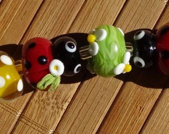 Little Ladybug---Handmade LAMPWORK Bead Set